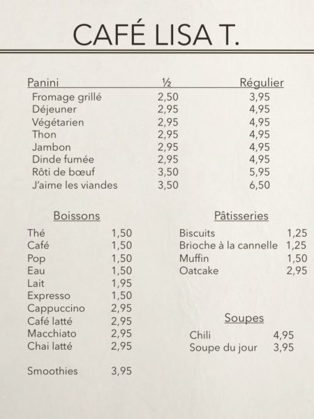 FRA Lisa T cafe menu