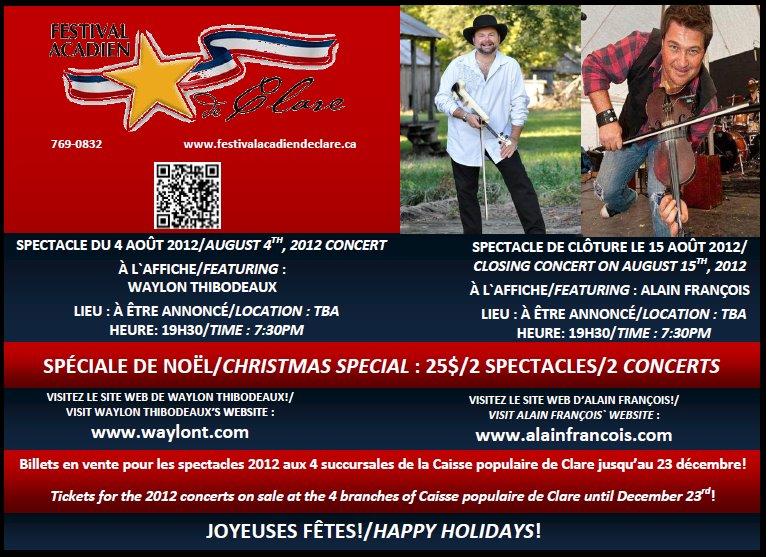 Festival Acadien 2012 info