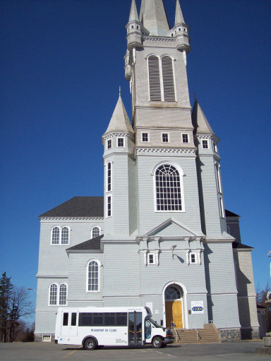 Acadian Shores experientiel tours - church and bus