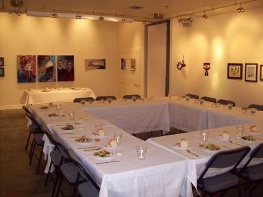 Catered dinner in art gallery
